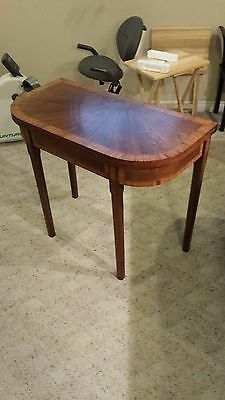 Antique Georgian Inlaid Mahogany 'D' End Tea Table