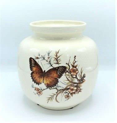 Vintage Treasure Craft Butterfly Large Ceramic Butterflies Canister Holder Vase