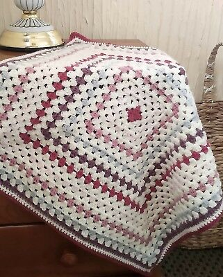 Handmade Baby Square Crochet Knitted Blanket Throw - Pink Cream Purple Silver