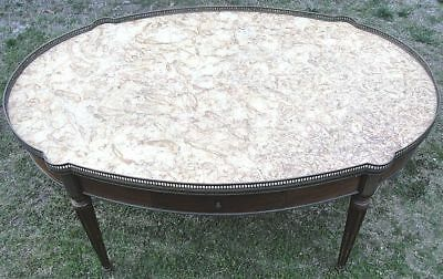 Antique French Louis XVI Mahogany, Marble & Brass Ormolu Coffee Table AWESOME