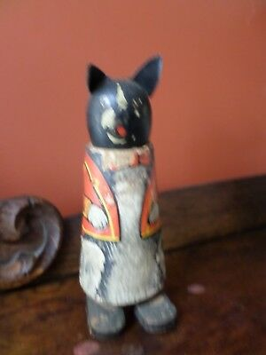 Antique Toy Black Cat In Tuxedo, Movable Feet