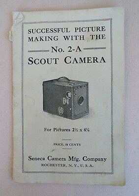 Rare antique Box Scout 2-A Seneca Camera Rochester NY instruction manual vintage
