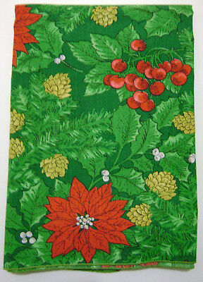 vintage christmas fabric tablecloth 52x70 green on green print red poinsettias