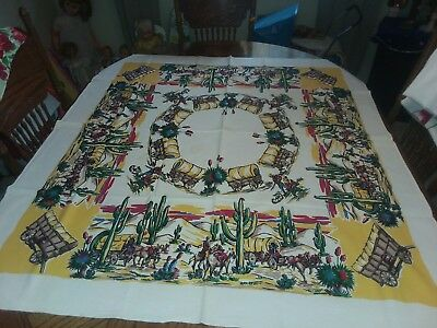 "Vintage Western Cowboy Ranch Tablecloth 52"" x 46"""