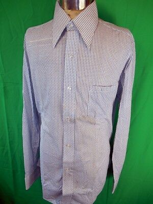 Vintage 60s 70s Blue & White Patterned New Haven Dress Shirt N.O.S. Never Worn L