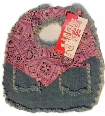 Baby Korral Infant's Paisley and Denim Bib Pink Baby Girl 100% Cotton NWT