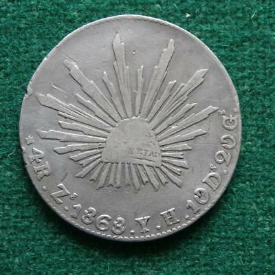 1868 4 Reales Mexico silver Coin Zs YH Zacatecas Caps & rays