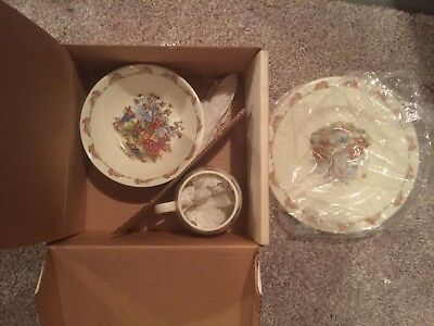 Vintage 80's Bunnykins 3 piece lot Childs set plate bowl cup New but w/ box wear