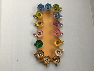 Lot of 15 Pressed Tin Metal Clip On Candle Holder Christmas Tree Multi Colors