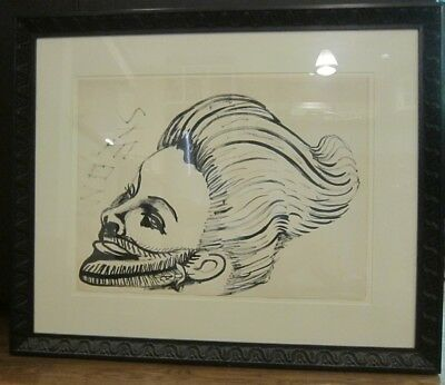 St. Eom ink on paper self portrait, large, outsider art, Pasaquan