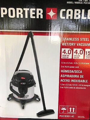 Porter Cable 4hp 4 Gallon Stainless Steel Wet/Dry Shop Vac Vacuum & Tool Kit New