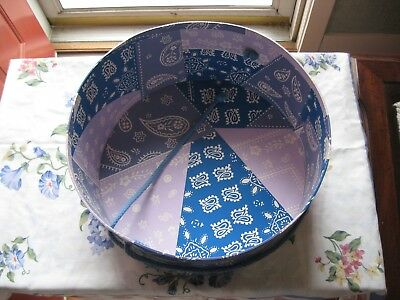 """Vintage - Covered pattern  Hat Box (12.75'' x  6"""") cord for carrying"""