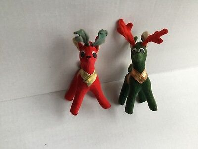 Vintage Dakin Dream Pets Japan Lot Of 2 Reindeer Green/Red Antlers Christmas