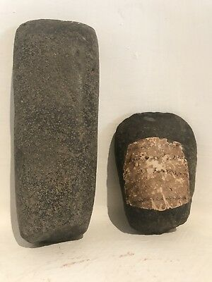 Two Pre Columbian Green Stone Celts Artifacts Axe Head Mayan Aztec Olmec Mezcala