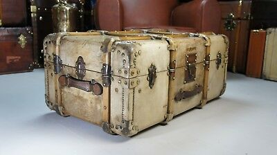 Beautiful Antique Leather Vellum Cabin Trunk