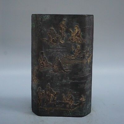 Chinese Exquisite Handmade ancient people poetry pattern Ink stone statue