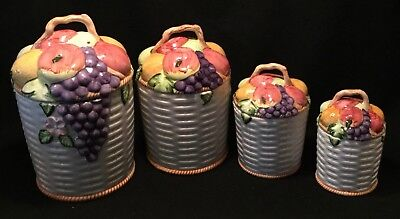 Vintage c.1970s 4pc Hand Painted Ceramic Fruit Basket Kitchen Canister Set