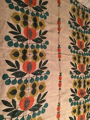 "1-1/2 Yards 100% Linen Fabric Bright Orange And Green 1960""s Print"