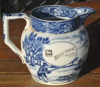 White Horse Scotch Whisky Stagecoach Jug / Pitcher - Shelley