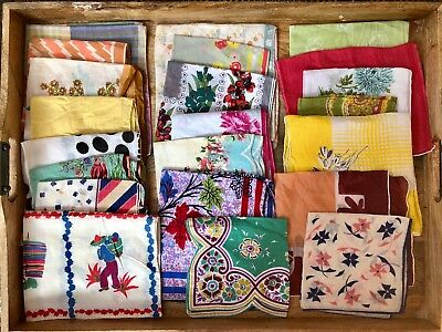 Lot of 22 vintage floral and mid century hankies