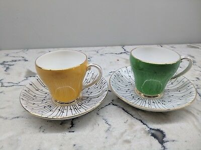 "ROYAL GRAFTON ""Pampas Grass"" cup & saucer, set of 2, green & yellow, EUC"