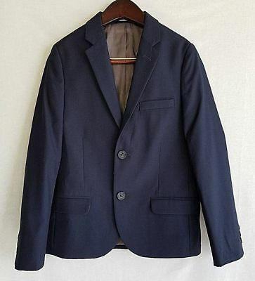 Boys 2 Button Blazer Suit Jacket Navy Youth School Uniform Formal Size 18 NEW