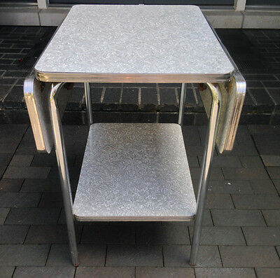 Vintage 50's Formica Chrome Drop Leaf Shelf Cart Table
