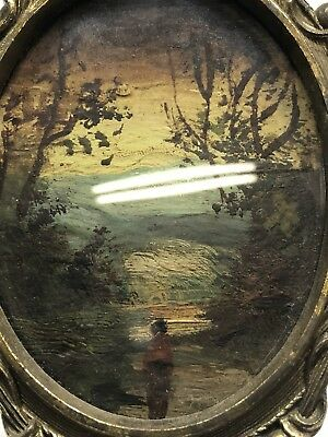 Antique Art Oil On Board In Victorian Frame Miniature Stunning