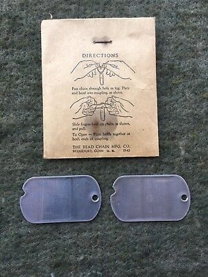 WWII U.S. Army ~ NOS ~ Blank Notched Dog Tags & Neck Chain