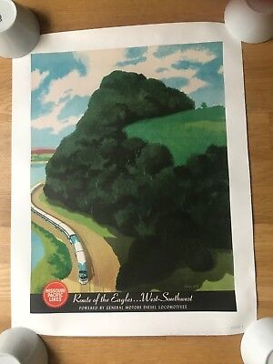 Original Travel Poster Rail Missouri Pacific Bern Hill General Motors Circa 50's