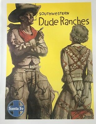 Original Travel Poster Santa Fe - Dude Ranches - Circa 1950's