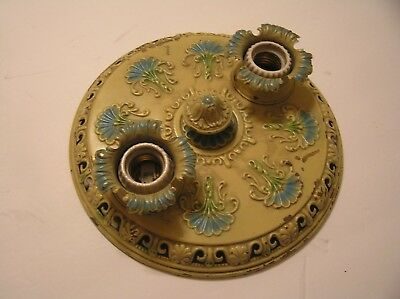 Antique Vintage Art Deco Two Socket Painted Brass Ceiling Light Fixture