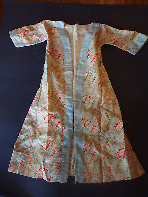 """Old Vintage Antique Chinese Robe Coat Paisley Pattern Long x Boudoir Doll 22"""""""