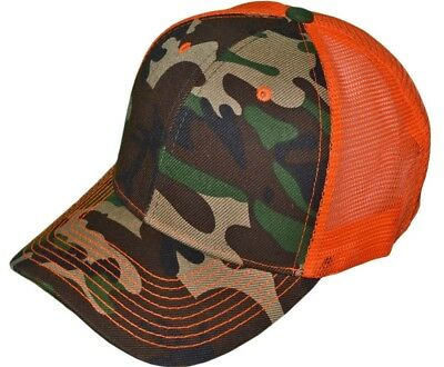 58de20ca8cefc Camo trucker hat Neon Orange mesh back Quality hat safety hunting snapback  cap