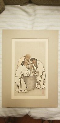 JAPANESE VINTAGE WOODBLOCK PRINT Japan painting old antique