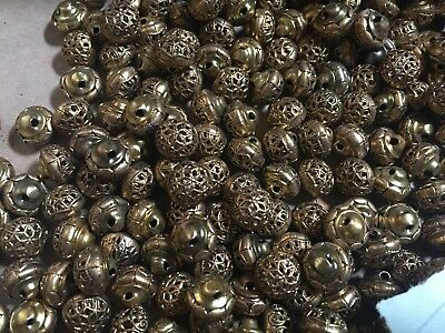 225 Vintage Tiny Gold Tone  Metal Sewing Buttons Lot 37
