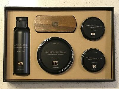 Brand New Frye Deluxe Leather Care Kit Leather Lotion Polish Cream Brush $48