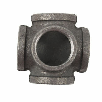 "1"" 5 Way Cross Tee Black Malleable Iron Fitting Pipe NPT Decor Style NEW"