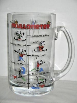 Brand New in box Skullometer Large 1 Litre Sturdy Glass Beer Mug 20.5cm High