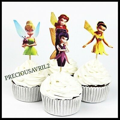 Cupcake Toppers 12 X Tinkerbell Fairies Girls Party Birthday Cake Supplies AUS