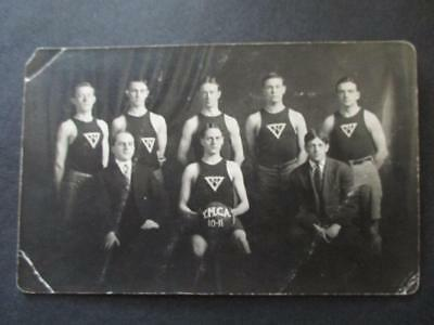 """Antique 1910 """"YMCA CHAMPS"""" BASKETBALL TEAM RPPC Real Photo Postcard"""
