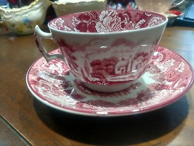 Enoch Woods Woods Ware Red and white Transferware Cup & Saucer, English Scenery