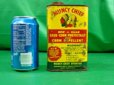 Vintage Antique Muncy Chief Seed Corn Oil Can Old Farm Garage Advertising Tin