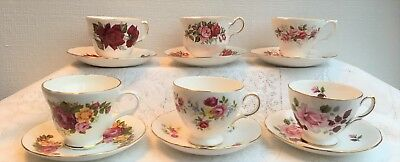 Lot of 6 'Roses' Tea Cup & Saucers Queen Anne, Royal Vale, Crown Trent, H & M