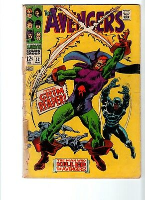 Avengers #52 (1968) Black Panther joins Avengers, 1st app Grim Reaper; low grade