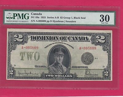 1923 $2.00 Dominion Of Canada A-Series Graded By Pmg 30 Very Fine