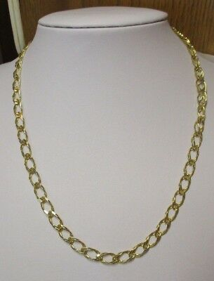 "Vintage Italian Sterling Silver Gold Overlay 18"" Parallel Chain Necklace"
