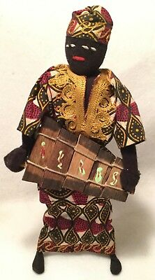 """Vintage c.1960s West Indies African Caribbean 11"""" Doll w/ Handcrafted Costume"""