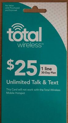 $25 Total Wireless Unlimited Talk & Text Prepaid Activation/Refill Card