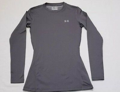 Under Armour COLDGEAR Fitted Women's Gray Crew Long Sleeve T-SHIRT Sz SM 1212171